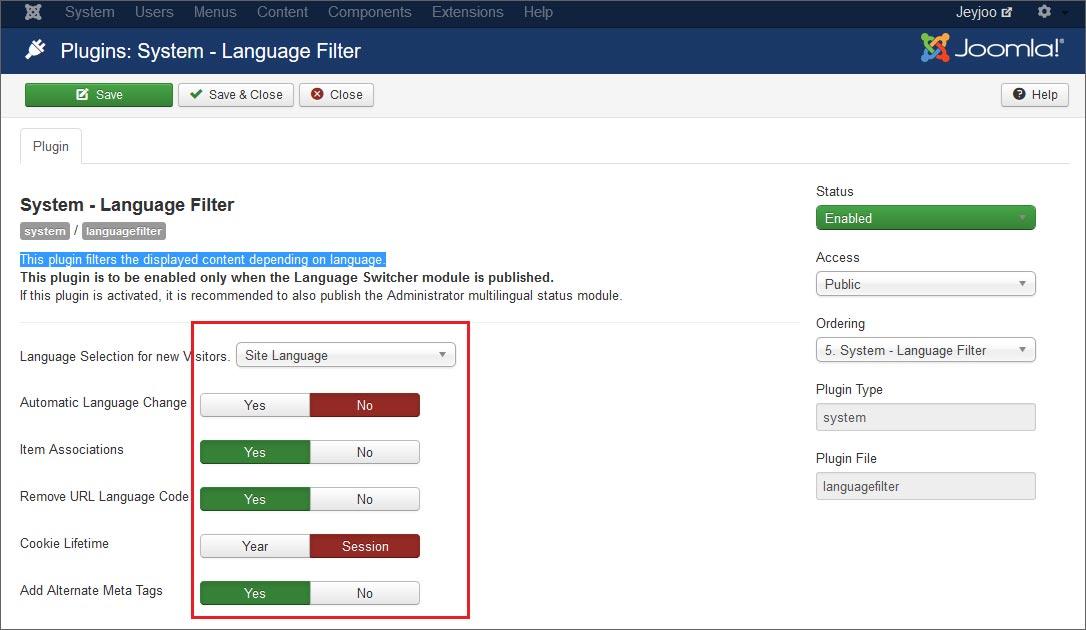 Come configurare il Language Filter Plugin su Joomla