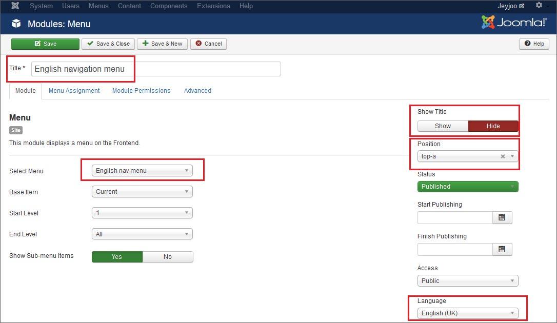 Come creare un modulo per esporre il vostro menu di navigazione su Joomla