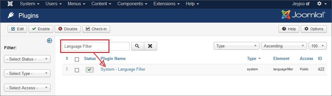 Come attivare i Plugin di Joomla per il Language Filter