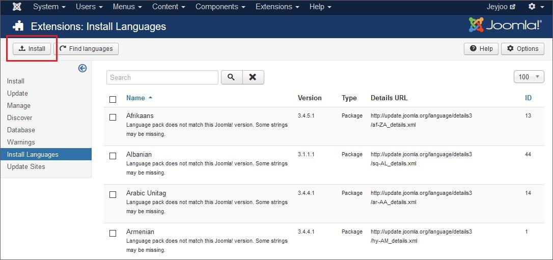 Step 2 - come installare una seconda lingua su Joomla