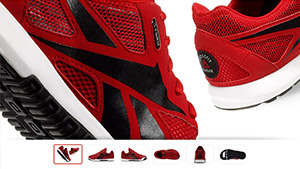 Le scarpe Reebok utilizzano zoom e tecnica del pan feature per ispezionare i prodotti