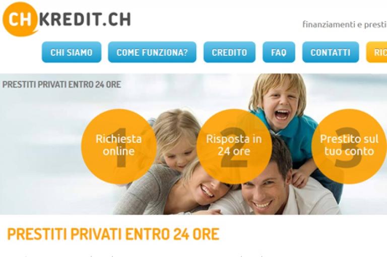 Sito Internet per un'azienda di prestiti personali, Svizzera