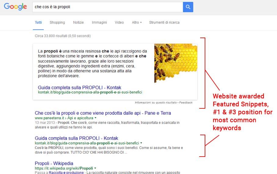 Kontak - featured snippet nel loro settore - prodotti dell'alveare, propoli, polline, pappa reale e miele
